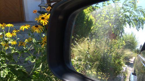 Der Blick durch den Seitenspiegel
