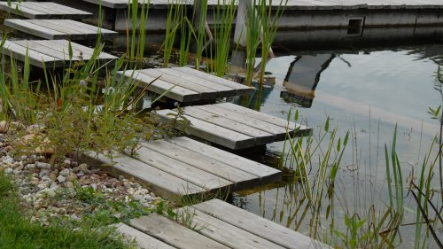 Lärchenholzmodule als Weg über den Teich