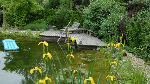 Lärchenholzsteg am Wasser