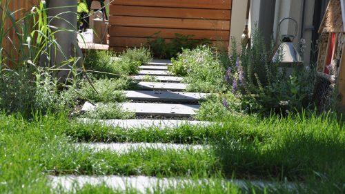 Trittsteinplatten im Rasen